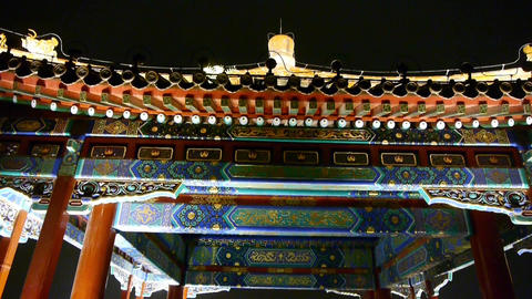 China Beijing ancient architecture pavilions at night Stock Video Footage