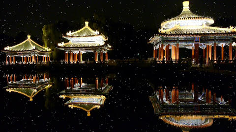 China Beijing ancient architecture pavilions reflection in pool water Footage