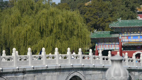 white bridge in Beihai Park Beijing China Stock Video Footage