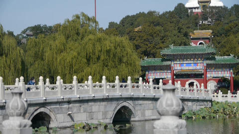 white bridge in Beihai Park Beijing China Footage