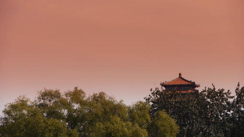 China Beijing ancient architecture & forest in sunset Footage