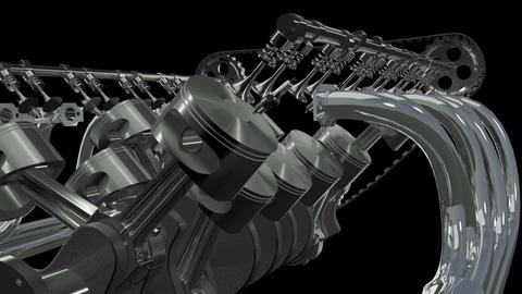V12 Engine Front Animation.Loop + Alpha HD Stock Video Footage