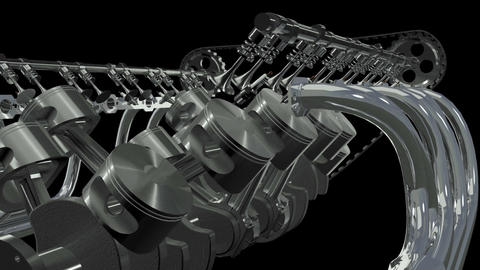 V12 Engine Front Animation.Loop + Alpha HD Animation