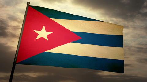 Flag Cuba 05 Stock Video Footage