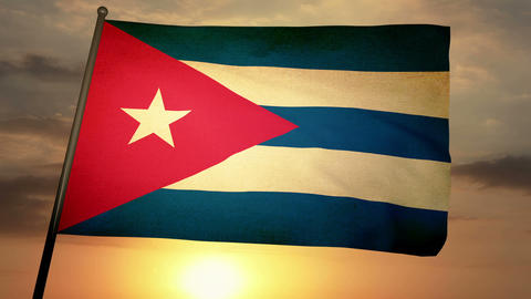 Flag Cuba 05 Stock Video Footage