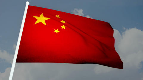 Flag China 03 Stock Video Footage