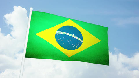Flag Brazil 03 Stock Video Footage