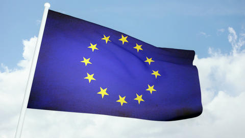 Flag Europe 03 Stock Video Footage
