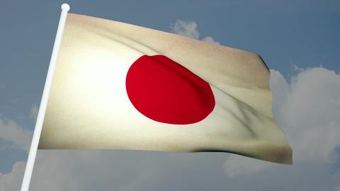 Flag Japan 03 Stock Video Footage