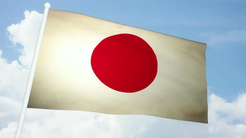 Flag Japan 03 Stock Video Footage