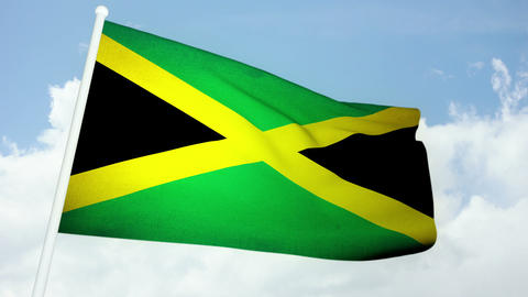 Flag Jamaica 03 Stock Video Footage