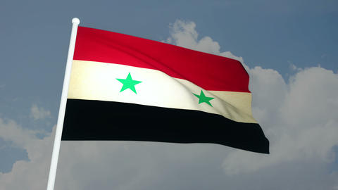 Flag Syria 03 Stock Video Footage