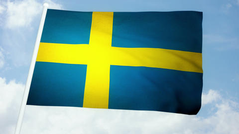 Flag Sweden 03 Stock Video Footage