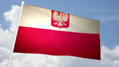 Flag Poland 03 Stock Video Footage