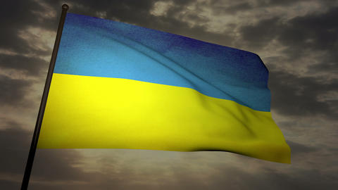 Flag Ukraine 05 Stock Video Footage