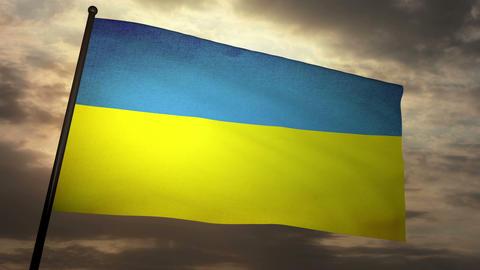 Flag Ukraine 05 Stock Video Footage