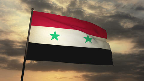 Flag Syria 05 stock footage