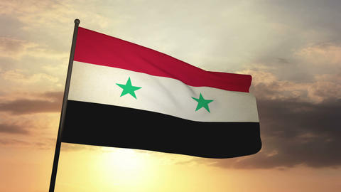 Flag Syria 05 Stock Video Footage