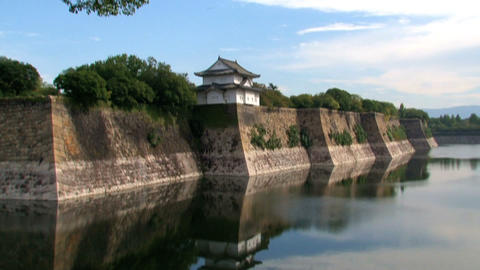 Osaka Castle tilt Stock Video Footage