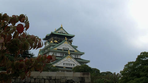 osaka castle slide timelapse Stock Video Footage