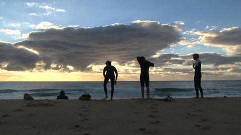 Guys ready to surf Stock Video Footage