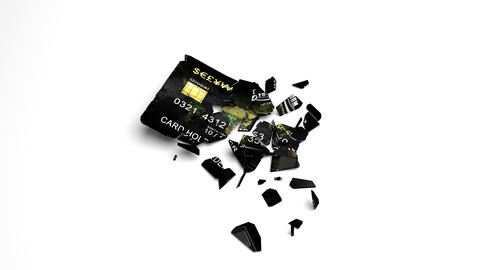 Credit or debit card drops and falls apart Animation