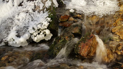 ice in a winter stream Stock Video Footage