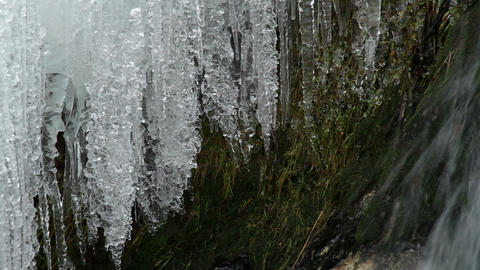 icicles on waterfall Stock Video Footage