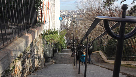 Typical street in Monmartre, Paris Stock Video Footage
