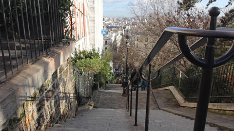Typical street in Monmartre, Paris Footage