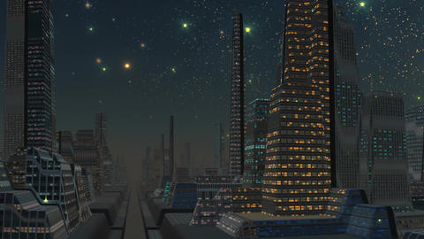 Falling meteorite (UFO) and the fantastic city Animation