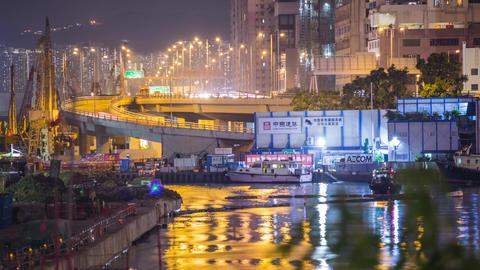 Bridge Night Traffic Footage