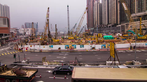 Construction site wide shot Stock Video Footage