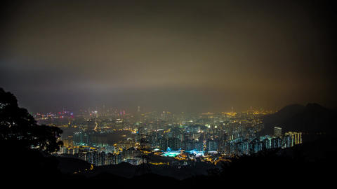 Hong Kong Night shot on Foggy Cloudy Night Stock Video Footage