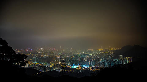 Hong Kong Night shot on Foggy Cloudy Night Footage