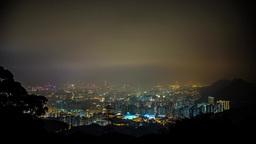 Hong Kong Night shot on Foggy Cloudy Night Stock Video Footage