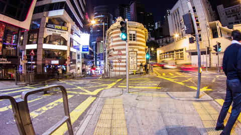 Busy traffic corner in Lan Kwai Fong, Central Footage