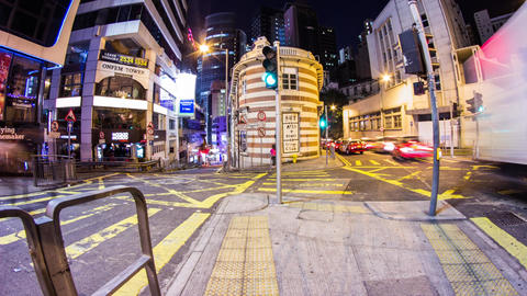 Busy traffic corner in Lan Kwai Fong, Central Stock Video Footage