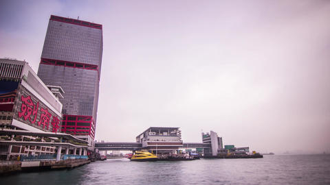 Cloudy Sky by a ferry terminal Stock Video Footage