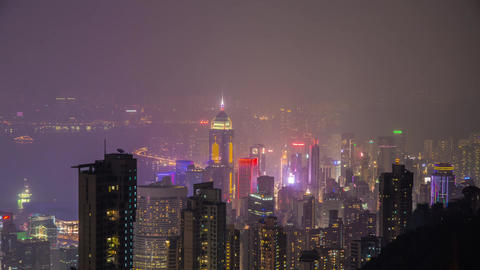 Hong Kong Night Shot At The Peak stock footage