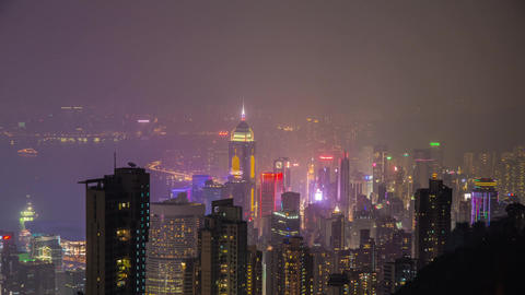 Hong Kong night shot at The Peak Stock Video Footage