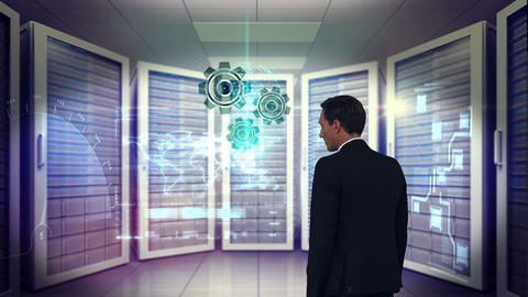 Businessman in a server room Animation