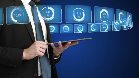 Businessman using his tablet computer Animation