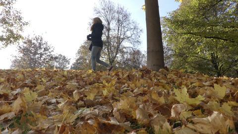 Girl walks on leaves under tree in Autumn Footage