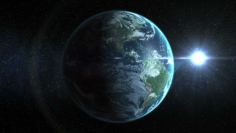 animation of spinning earth with sun Animation