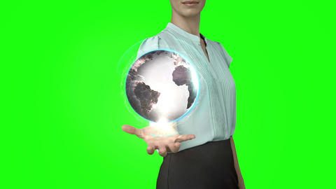 Businesswoman with globe animation in front of green screen Animation