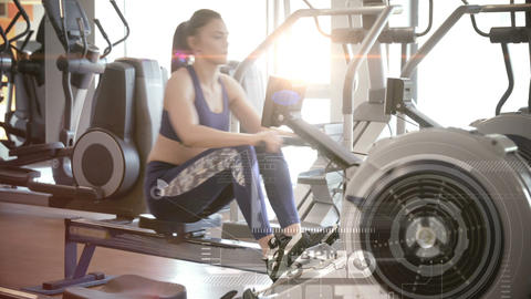 Woman using a rowing machine Animation