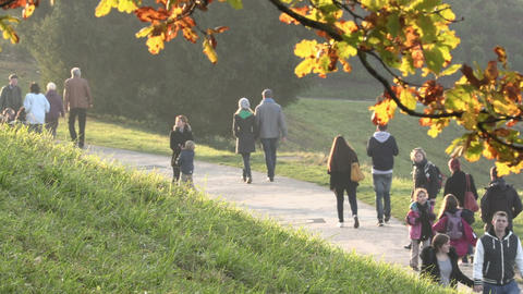 People walking in beautiful park in autumn time Footage