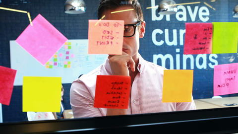 Businessman looking at the sticky notes Live Action