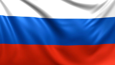 Flag of Russia. Seamless looped video, Russian federation footage Animation